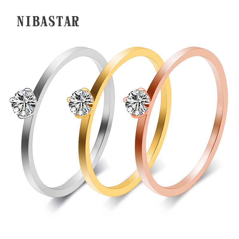 Italian Cubic Zirconia Wedding Rings Women Jewelry Rose Gold-Color Engagement Ring Female Anel Bijoux Gifts High Quality