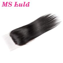 MS Lula hair Lace Closure Brazilian Remy Hair Straight Free Part with Baby Hair Human Hair Natural Color Free Shipping