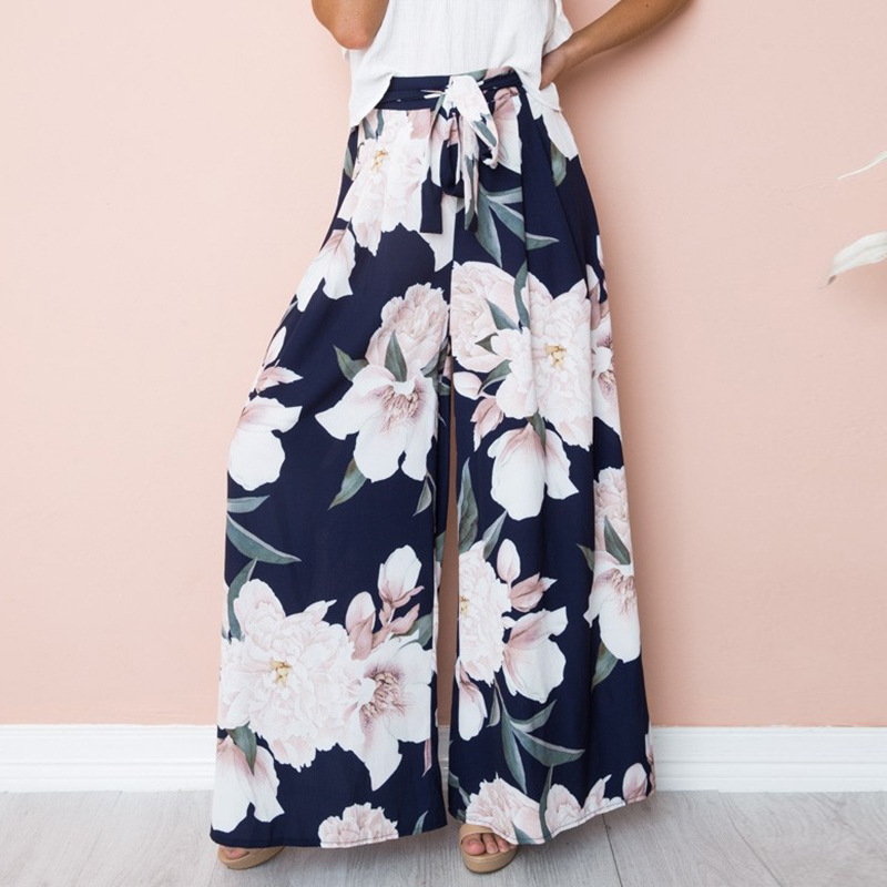 Zuolunouba Floral Print   Wide     Leg     Pants   Women Elastic Loose Boho Casual   Pants   Trousers Beach Summer Middle Waist   Pants   Female