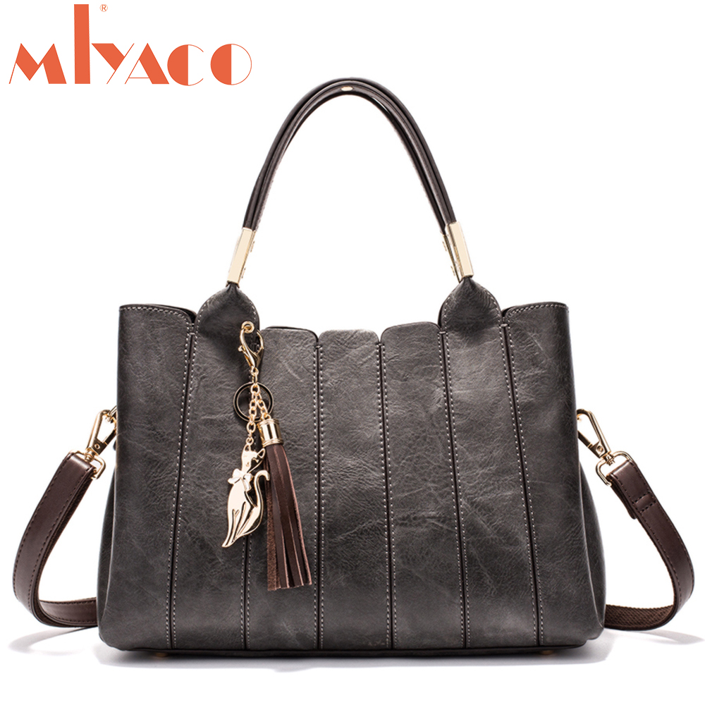 MIYACO New Women Bag Top-Handle Big Capacity Female Handbag Fashion Shoulder Bag Purse Ladies PU Leather Crossbody Bag Set fashion new design pu leather lotus wave female chain purse shoulder bag handbag ladies crossbody messenger bag women s flap