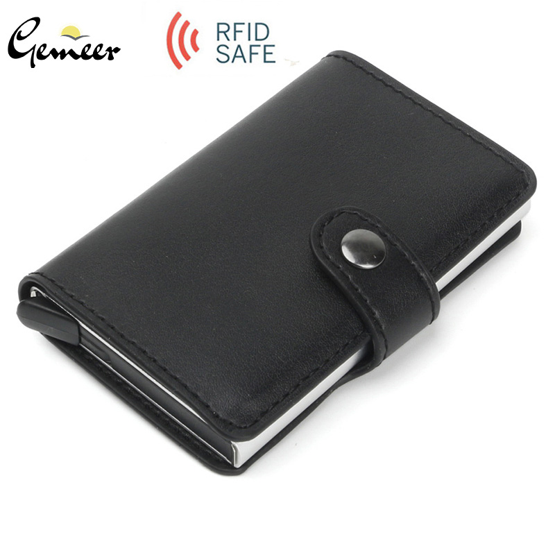 Gemeer RFID Automatic Wallet Credit Card Holder Case Aluminum Alloy Anti-Degaussing Anti-Theft RFID Bank Credit Card