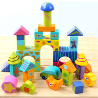 50pcs Large wooden colorful blocks Pile up stacking blocks Situational building block Play house bulding house Intelligent toys
