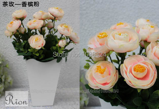 Silk rose bud with vase for decor Craft fabric tea rose Home Wedding Party Event display  artificial rose buds  0375