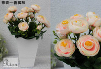 Silk rose bud with vase for decor ,Craft fabric tea rose ,Home Wedding Party Event display , artificial rose buds , 0375