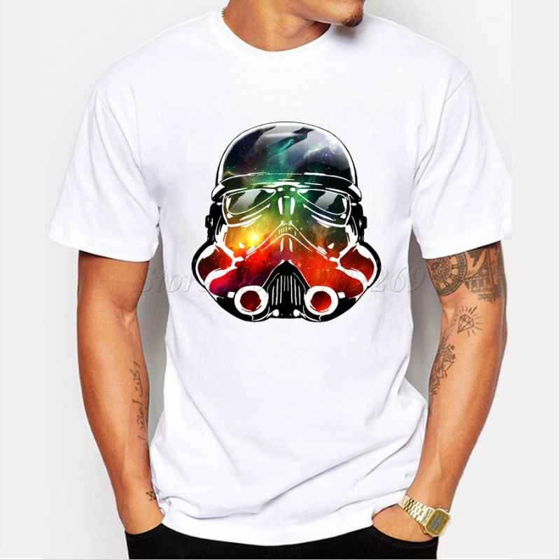 New Fashion Star Wars Design Men s Stormtrooper Coffee T shirt Helmet  Printed Creative Male Basic Tops Famous Cartoon Boy s Tee-in T-Shirts from  Men s ... f6bf02828