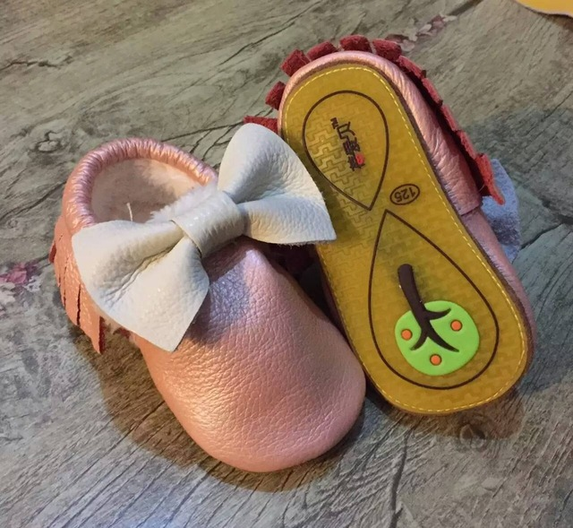2017 stylish genuine leather baby moccasins bow mary jane girl Princess dress shoes toddler hard sole rubber first walker