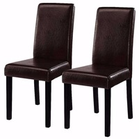 Goplus 2 Pieces Set Modern Dining Chairs Black Brown Leather Home Furniture Elegant Design Contemporary Dining