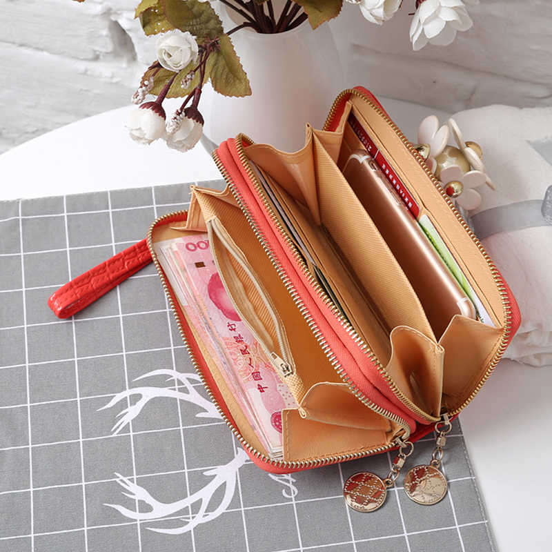 Красные/белые/черные женские кошельки с двойной молнией, Дамский модный бумажник, Женская длинная дизайнерская сумочка, сумка для телефона, хит продаж