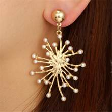 European Fashion Gold Color Flower Snowflake Dangle Earrings Big Exaggerated Similated Pearl Charm Wedding Earrings For Women(China)