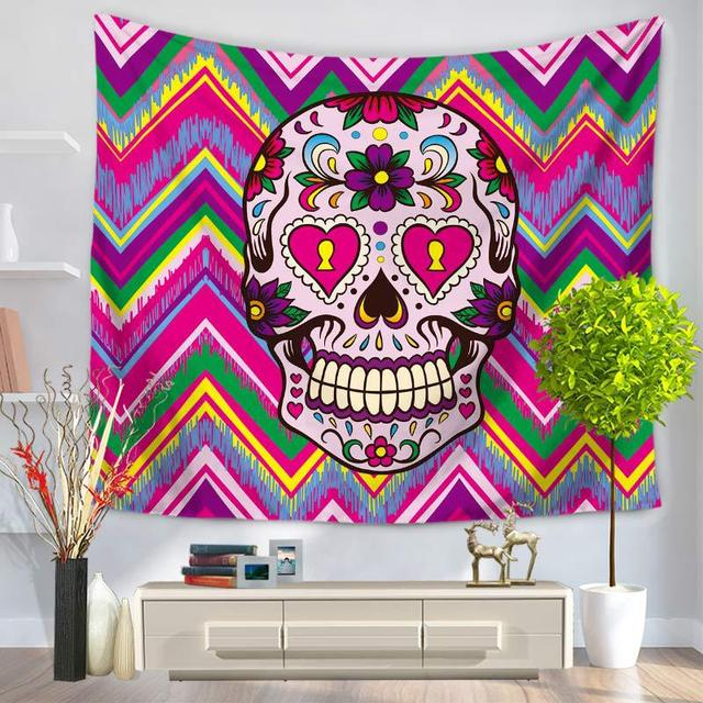 CAMMITEVER Dropshipping Tapestry Indian Skull Wall Hanging Tapestries  Skulls Printing Table Cloth Hippie Colorful Skeleton Throw