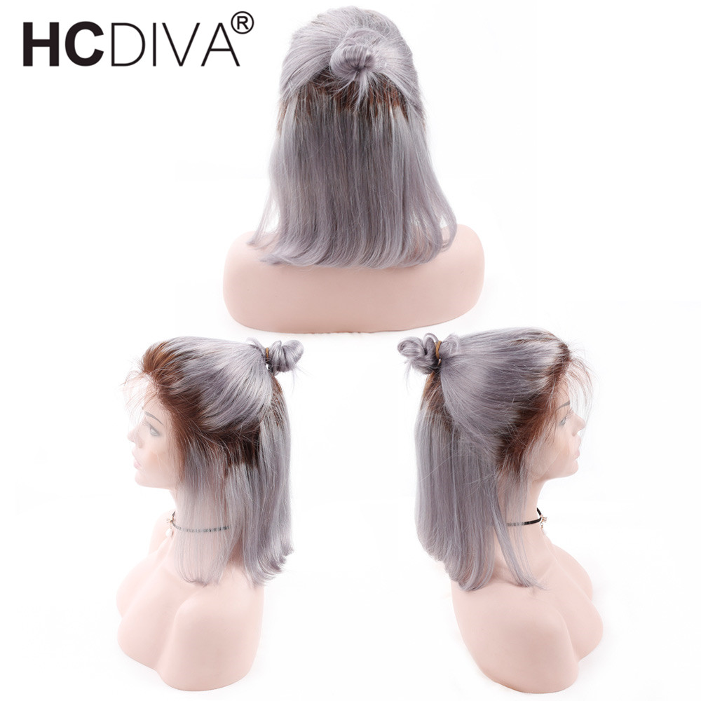 Brazilian Lace Front Human Hair Wigs With Baby Hair 1B Grey Straight Ombre Short Bob Human Hair Wigs Lace Front Remy Hair HCDIVA