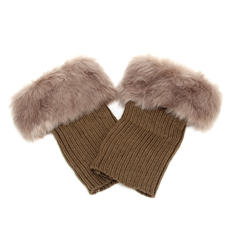Горячая Распродажа, женские зимние меховые ножки гетры, мягкие сапоги из искусственного меха с манжетами, зимние носки под сапоги, модные аксессуары - Цвет: khaki