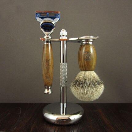 1 Stand +1 Razor + 1 Badger Brush Man Shaving Set Manual Replaceable Blades Shaver Razors Kit Green Ebony Wood Handle Shaver
