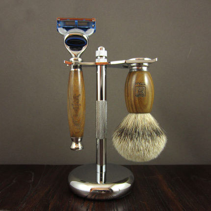 1 support + 1 rasoir + 1 blaireau homme Set de rasage lames remplaçables manuelles rasoir rasoirs Kit vert ébène bois poignée rasoir