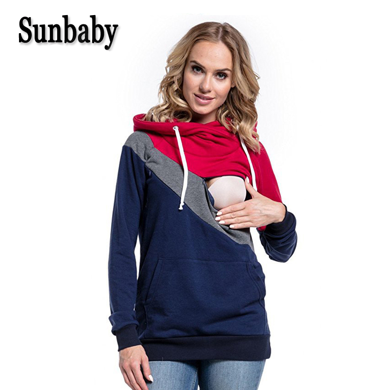 Sunbaby 2018 Spring Fashion Casual patchwork maternity clothes long sleeve nursing top breastfeeding hoodie for pregnant cropped wide sleeve top