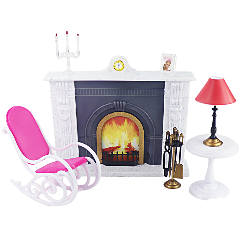 For Barbie Furniture Hearth Miniature Fireplace Play Set With Rocking Chair Desk Lamp Tools For 1/6 Doll Accessories DIY Toy