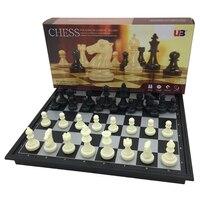 Mini Folding Magnetic Chess Checkers Set 32 Pcs Set Portable King 50mm Pawn 24mm Table Games