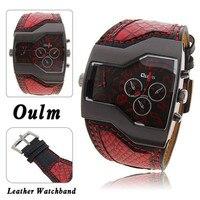 Latest Super Cool Big Face Leather Fashion Brand OULM Dress Clock Man Military Sport Reloj Relogio