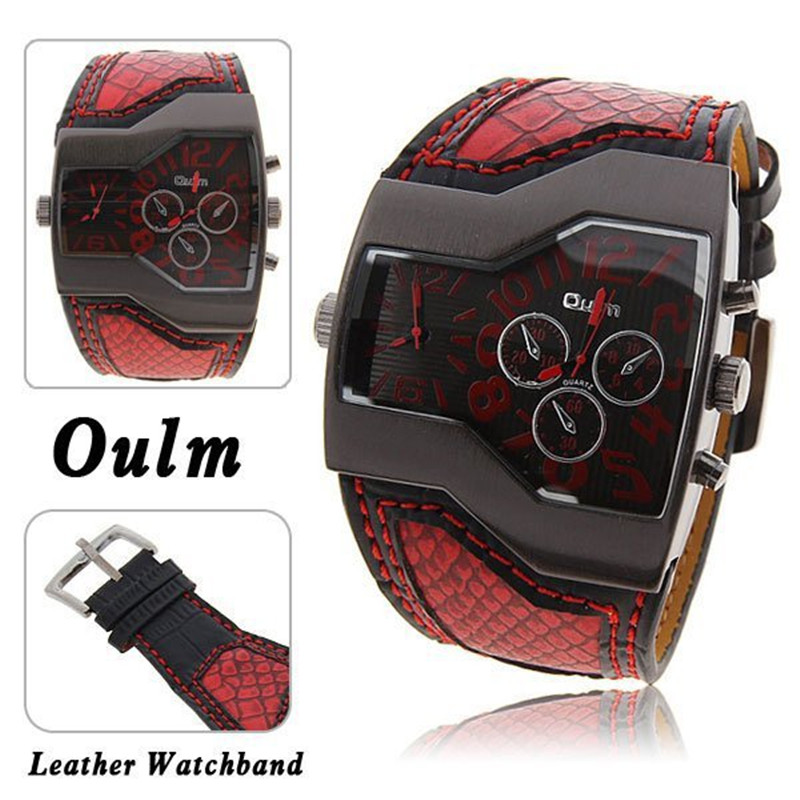 Cool 5.2 cm Large Dial OULM 1220 Original Brand New Designer Fashion dz Quartz Watches Men Wide Leather Band Casual Quartz Watch men quartz watches new fashion sport oulm japan double movement square dial compass function military cool stylish watch relojio