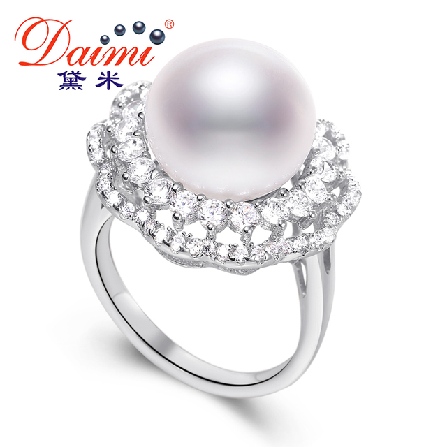 DAIMI High Quality Luxury Ring 11.5-12mm Whit Pearl Ring Shiny Freshwater Pearl & Sterling Silver Ring Brand Jewelry