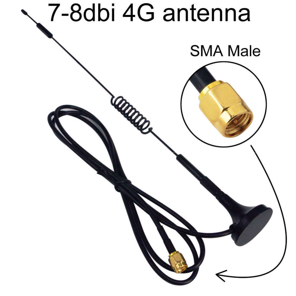 2pcs 4G Antenna 7-8 dbi LTE Double Screw Aerial 698-960 Mhz with magnetic base SMA Plug Male RG174 1M for Huawei B315/B525/B310