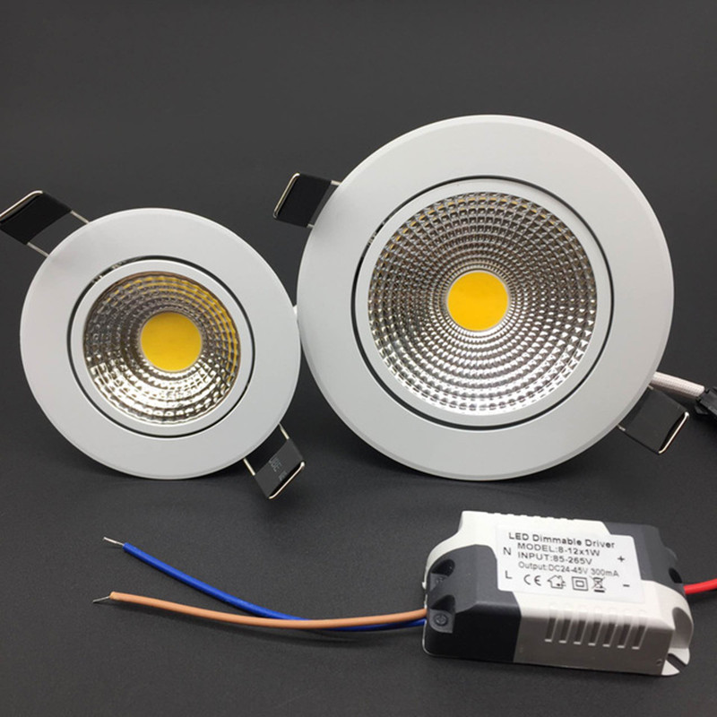 Angle Adjustable LED Dimmable Led Downlight Lighting COB 5w 7w 9w 12w Spot Light 85-265V Ceiling Recessed Lights Indoor Lighting