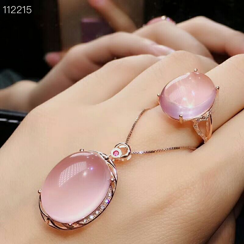 Vorsichtig Meibapj Natürliche Hohe Qualität Rosa Große Rose Quarz Edelstein Feine Schmuck Set 925 Reinem Silber Halskette Und Ring Anzug Für Frauen