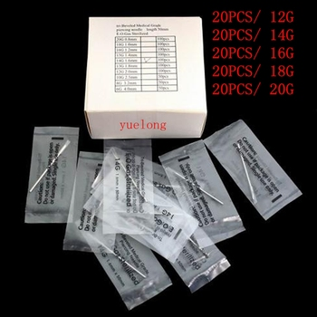 цена 12G 14G 16G 18G 20G 100PC Piercing Needle Sterile Disposable Body MIXED Piercing Needles For Ear Nose Navel Nipple Free Shipping онлайн в 2017 году