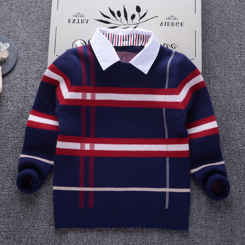 Boys Sweater 2018 Winter Casual Plaid Pullover for Baby Boys Children Knitwear Sweaters Cotton Kids Fashion Clothes Toddler Top 2018 autumn winter boys sweaters fashion blue kids knit pullovers jumper solid long sleeve toddler knitwear top children clothes page 2