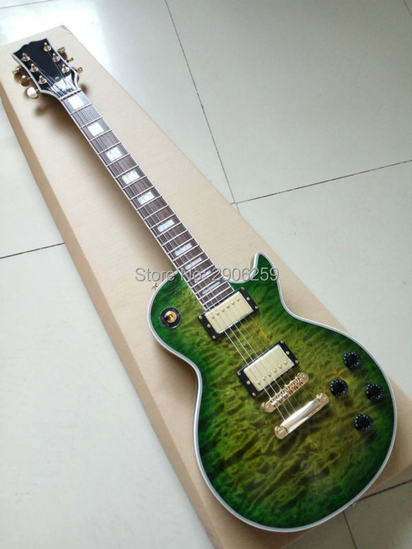 Custom shop Green LP Custom electric guitar water wave maple cover mahogany body top quality