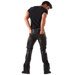 Image 2 - Mens Lingerie Wetlook Slim Fit Shiny Patent PVC Leather Latex Nightclub Party Tight Pants Leggings Trousers with Open Penis Hole