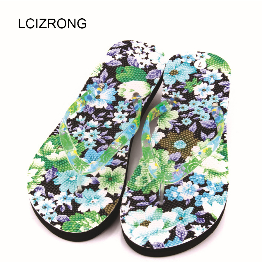 LCIZRONG Summer Fashion Print Flip Flops Women 36-41 Size Beach Flower Ladies Flat Slippers Bohemia Sexy Non-slip Flip Flops smalto st4g001m0011