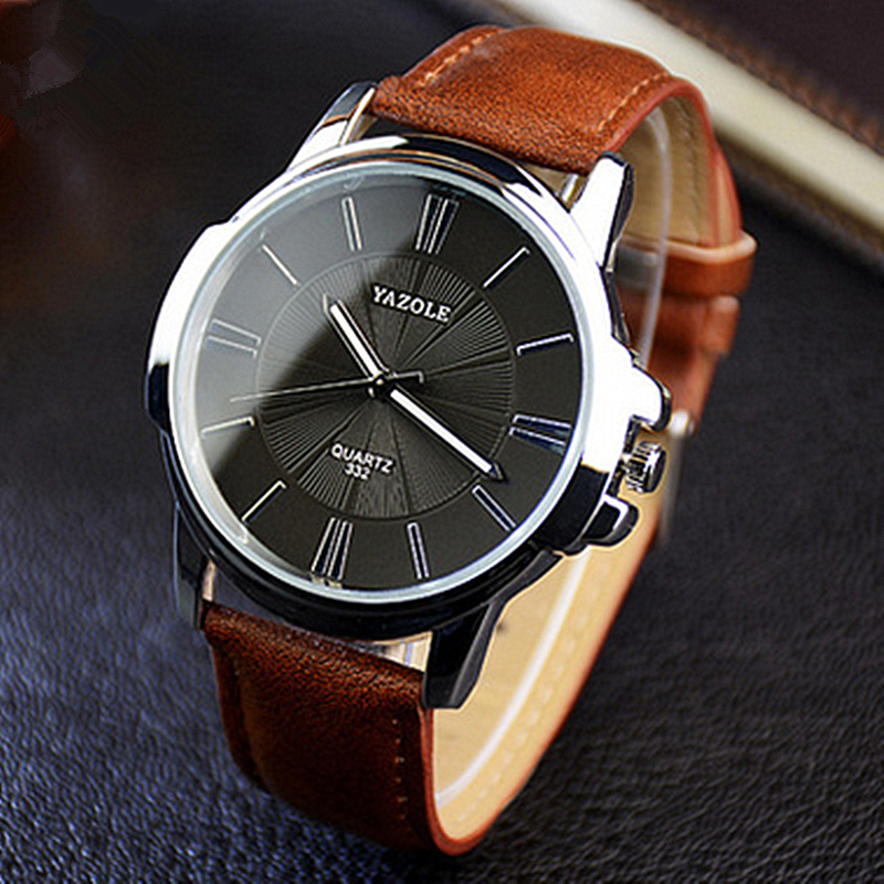 Yazole watch men top brand luxury famous quartz watch wristwatch male clock leather wrist watch for Celebrity watch brand male