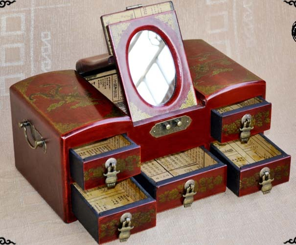 WOW-2019 mejor propicio presente retro antiguo madera rojo vintage joya caja de joyería-espejo cosmético de la caja de regalo