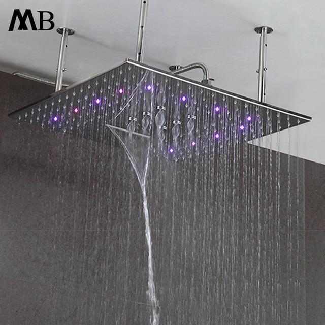 LED Shower Head 600*600mm 3 color Shower 3 Function  Bathroom Shower Rain SUS 304 Polished Led Rainfall Luxury Ceiling Mounted