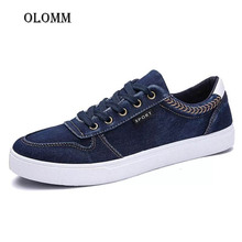 OLOMM Mens Sneakers Summer Jeans Canvas Shoes Breathable Fashion Driving Lace-Up Men Casual Zapatos Hombre