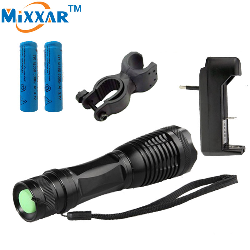 RUzk10 LED flashlight  XML-T6 8000 Lumens Adjustable led Torch Zoomable lights + 2*18650 5000mAh battery  +EU/US Charger+Holder