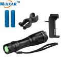 RUzk5 LED flashlight  XML-T6 4000 Lumens Adjustable led Torch Zoomable lights + 2*18650 5000mAh battery  +EU/US Charger+Holder
