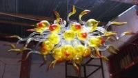 Fancy Yellow Shade Orange Blown Glass Chandelier Lighting LED Flush Mounted Fixture