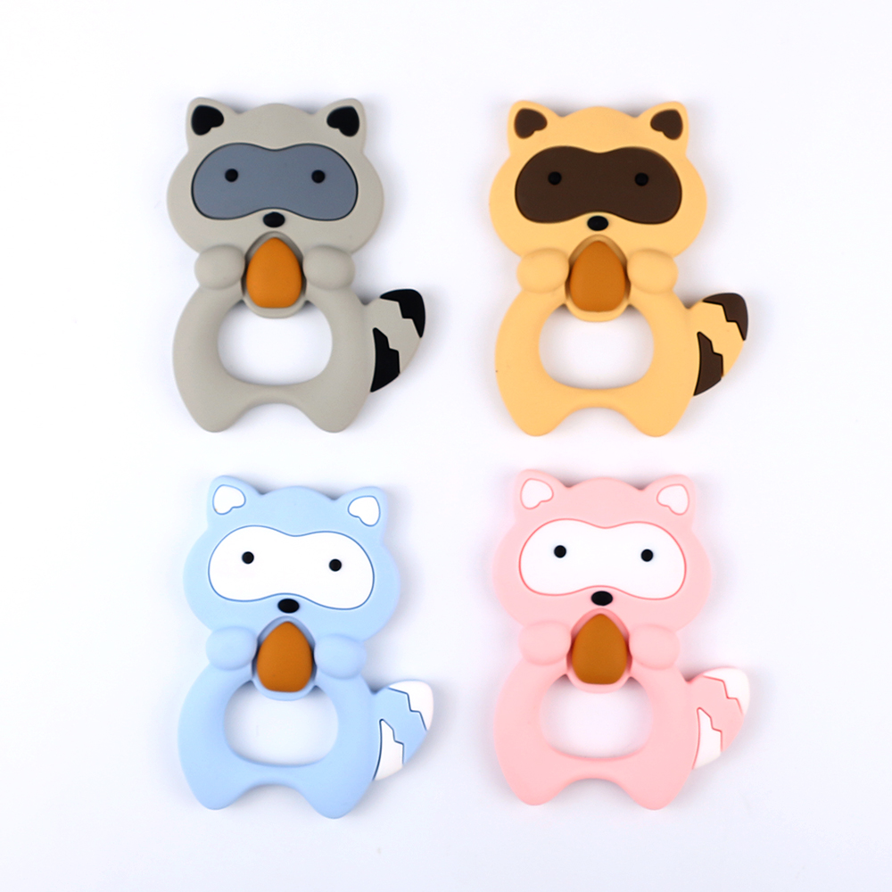 1pcs 100mm Silicone Raccoon Baby Teethers Rodent Beads DIY Chew Necklace Pacifier Chain Pendant Food Grade Silicone BPA Free