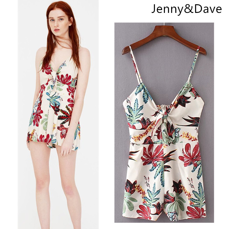 Jenny&Dave playsuits women print tropic floral spaghetti strap backless sexy playsuits women kimono feminino tops plus size 2018