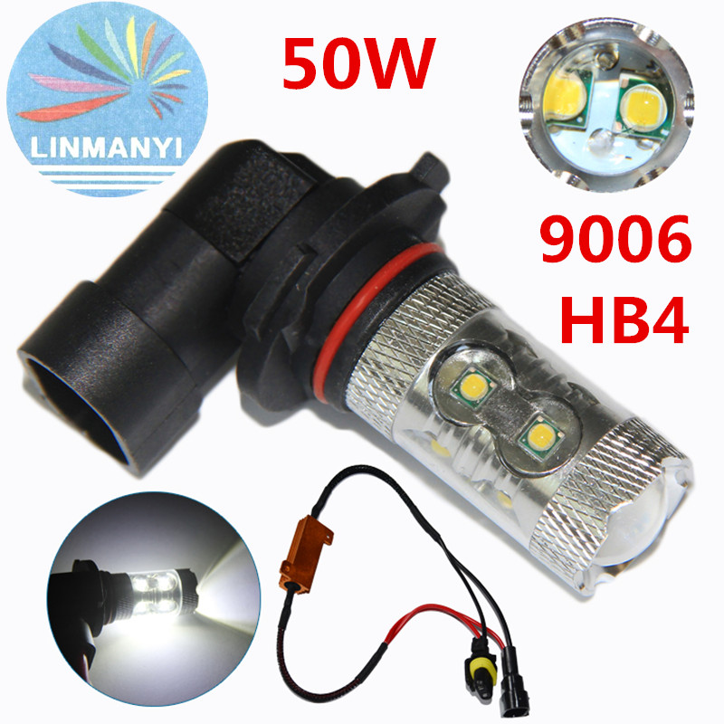 ФОТО 2PCS High Power 9006/HB4 50W 10 LED SMD Car Auto Driving  Canbus No Error Fog Light Head Lamp Bulb DRL 12V Day running lights