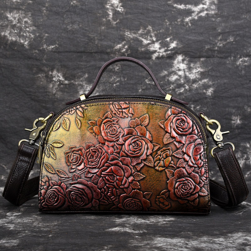 Women Crossbody Tote Handbag Famous brands Embossed Leather Rose Pattern Retro Leisure Female Messenger Top Handle