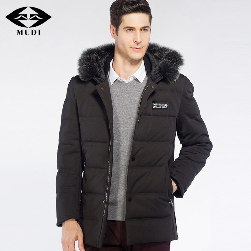 MUDI Brand Men 90% White Duck Down Coats With Real Fox Fur Collar Jackets Winter Thick Warm Down Coats Formal Plus Size Outwear