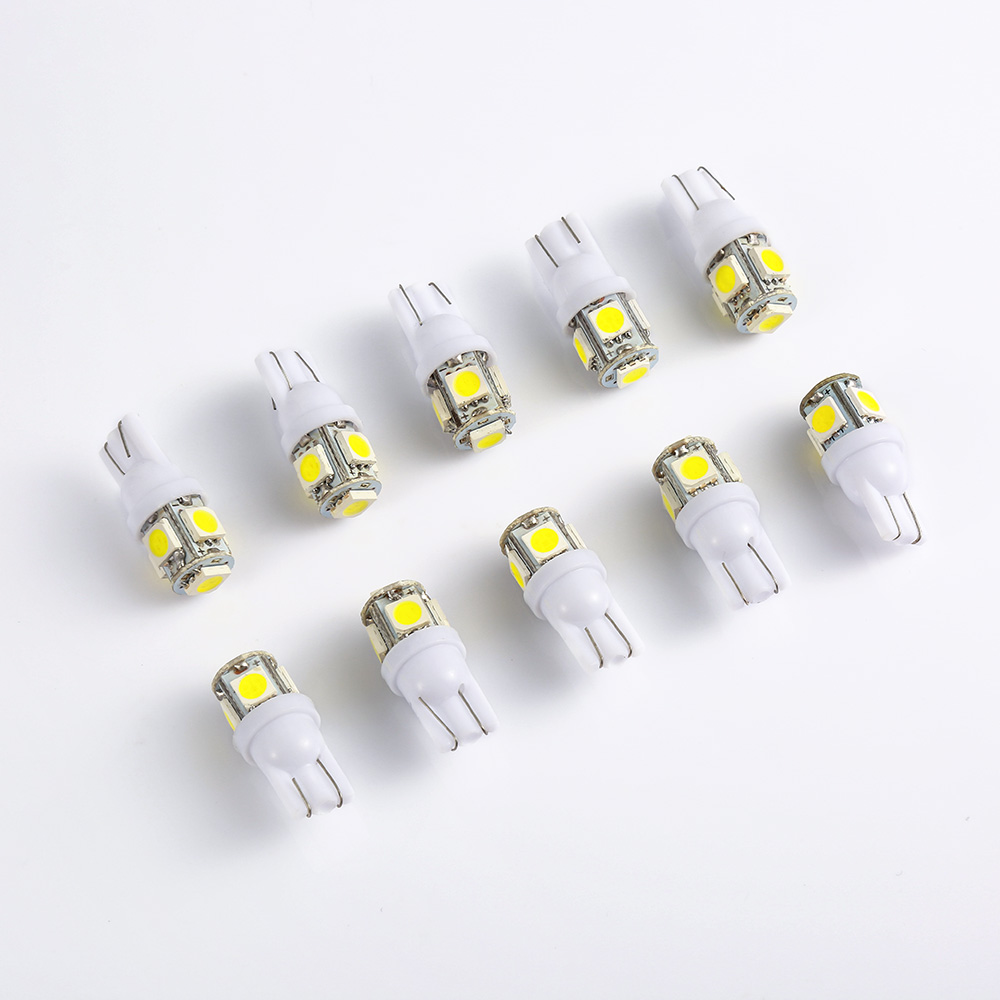 10pcs T10 W5W LED Bulbs 5050 5 SMD 194 168 White Wedge Interior Side Clearance Light Indicator Reading Tail Lamp Car-Styling