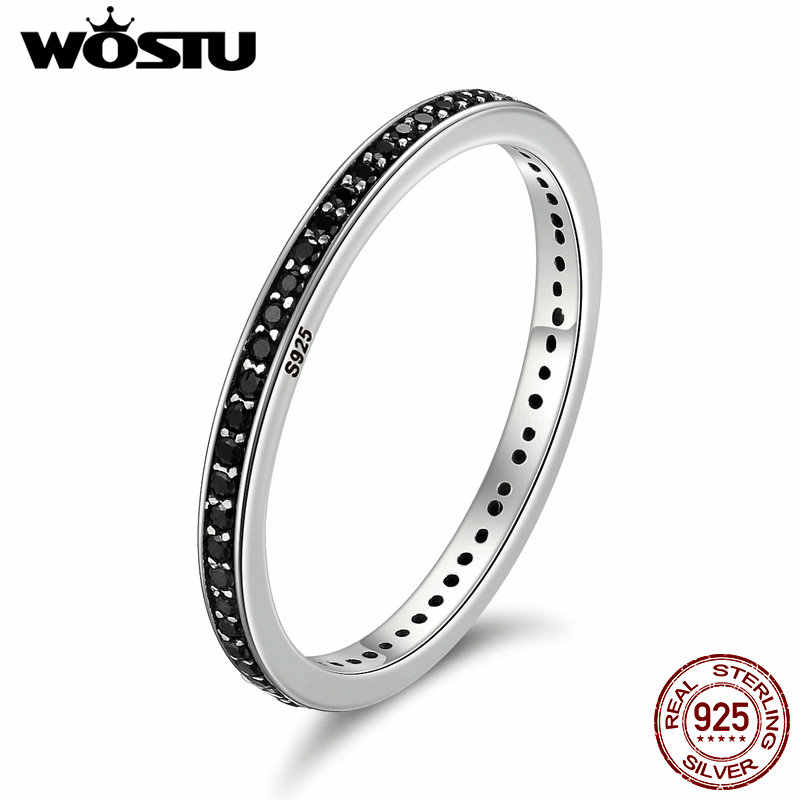 WOSTU Authentic 925 Sterling Silver Finger Stackable Rings With Black CZ For Women Fashion Jewelry Fine Gift CQR114