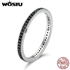 WOSTU Authentic 925 Sterling Silver Finger Stackable Rings With Black CZ For Women Fashion Jewelry Fine Gift CQR114(China)