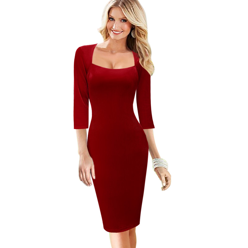 4747fc65be9 Vfemage Womens Elegant Vintage Autumn Floral Print Pinup Square Neck Work  Business Cocktail Party Club Sheath Bodycon Dress 1072-in Dresses from  Women s ...