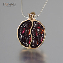 Romad Vintage Red Garnet Necklace Round Gold Color Pomegranate CZ Stone Necklaces For Woman Jewelry