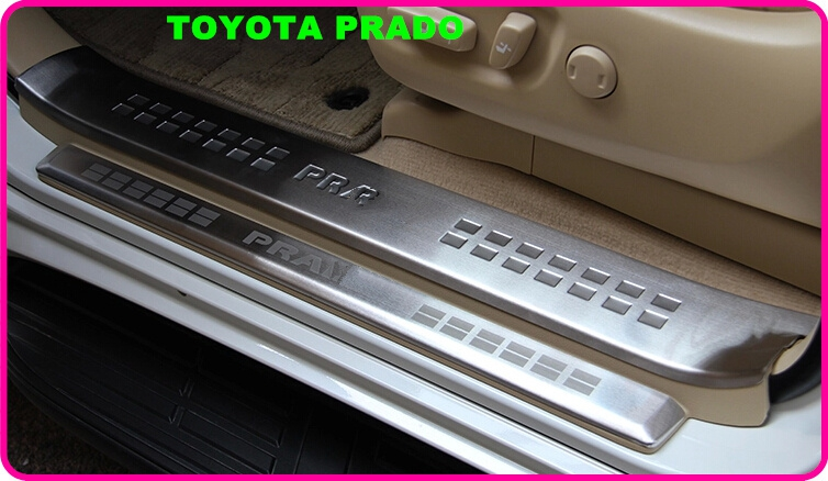 High quality 8pcs(4internal+4 external)door sills scuff footplate,protection sticker for TOYOTA Land Cruiser Prado 2010-2017 high quality stainless steel 8pcs 4 internal 4 external car door sills scuff footplate guard plate for mazda 6 atenza 2014 2017